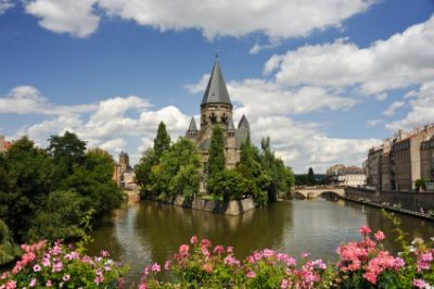 The beautiful town of Metz on the Moselle river in the Lorraine part of France