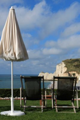 Terrace overlooking the cliffs at Etretat in Upper Normandy