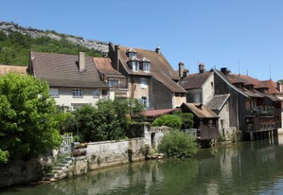 Ornans in Franche-Comté and the Loue river, France.